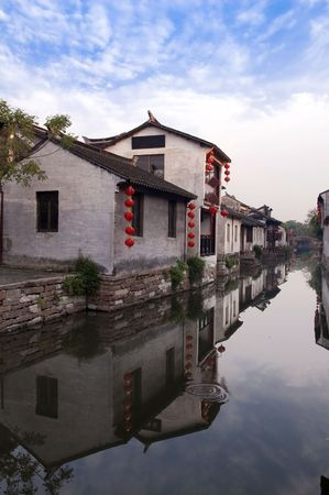 jiangsu: Famous water village Zhouzhuang in Jiangsu ,China. The houses  by the river are built several hundred years ago with  a typical architectural style of the Ming and Qing Dynasties