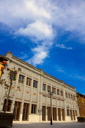 Old Chinese style brick house under blue sky.This is  architectural style  in the begin of last century's. Stock Photo - 5111791