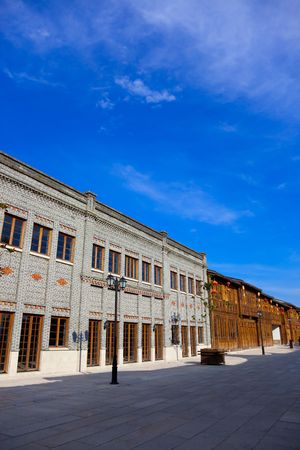 Row of old Chinese style brick and wooden houses  in a street.This is  architectural style  of southeast china in the begin of last century's. Stock Photo - 5124015