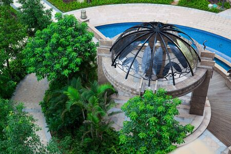 Aerial View of Gazebo in the garden photo
