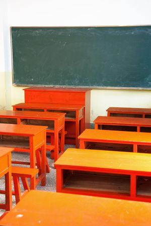 night school: Small empty classroom in a night school in China Stock Photo