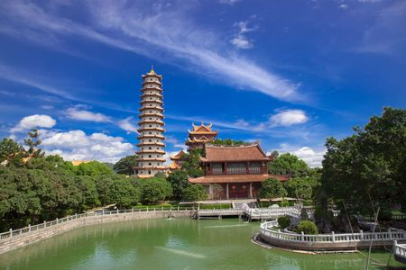 stupas: Chinese Pagoda and temples of  Xichan temple in Fuzhou,China. Xichan temple dating from thousand years ago is very famous place for  buddhism in southeast of China.