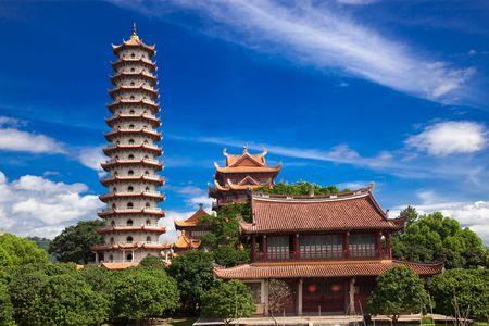 famous place: Chinese Pagoda of  Xichan temple in Fuzhou,China. Xichan temple dating from thousand years ago is very famous place for  buddhism in southeast of China.