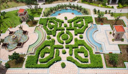 aerial view of a garden