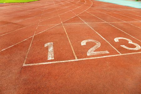 Number on a running track finish line photo