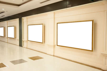 Blank interiors exhibition boards on a wall