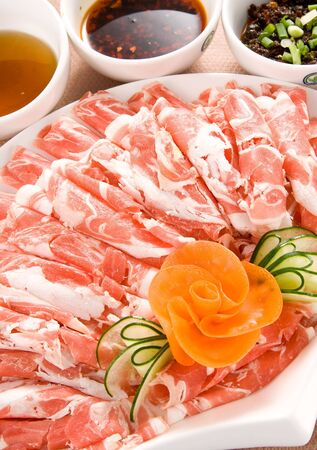 mutton: Chinese food -instant boiled sliced mutton Stock Photo