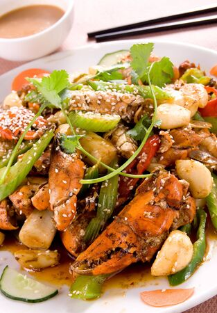 Chinese food - sliced crab stir-fried with celery photo
