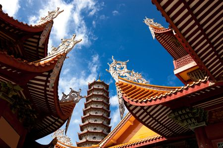 Chinese eaves under blue sky in the temple of Xichan,Fuzhou,China photo