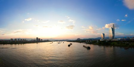 lake district: Riverscape for minjiang river in Fuzhou,China Stock Photo