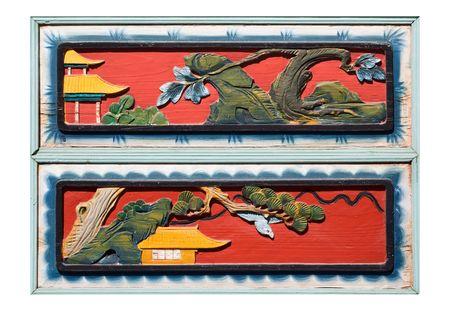 tallado en madera: Antiguo estilo chino de tallado de ventana aislado sobre fondo blanco