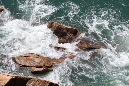Top view of reef and wave photo