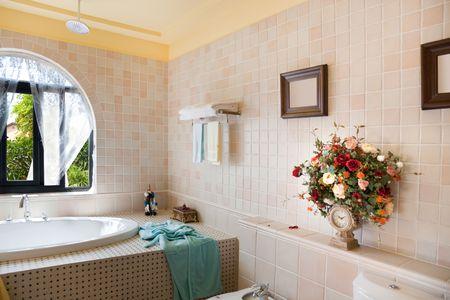 Modern luxury bathroom in a new house photo