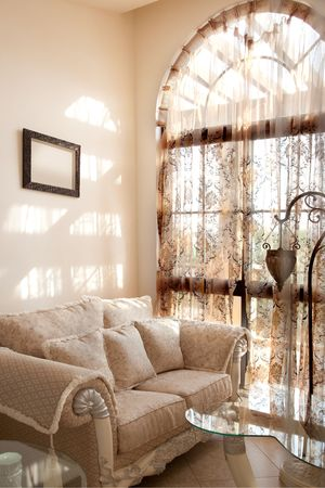 Modern interior with soft beside the window. Stock Photo - 5847796