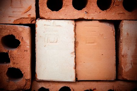 Chinese writing on the brick,the letter on the brick spell ji,means lucky or pleasure in Chinese, this letter also can  represent a sign for name of worker or workshop in  Chinese ancient times. photo