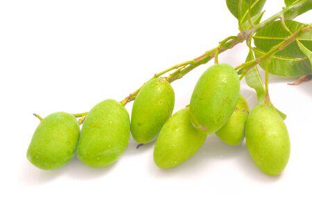 green mango: A group of freshness mango on white background in studio Stock Photo