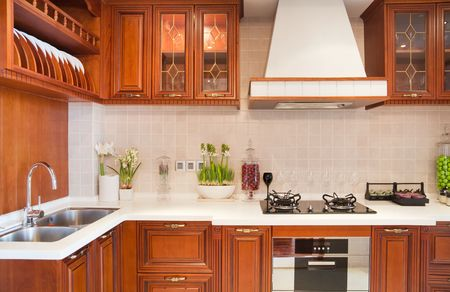 Luxury cherry modern kitchen photo