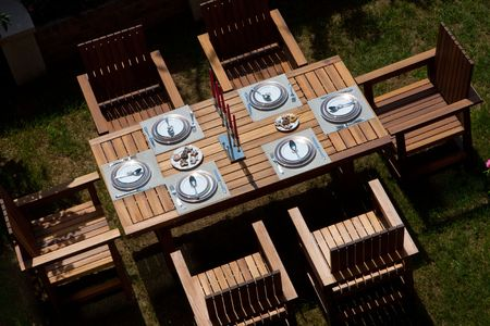 Table setting in a backyard patio photo