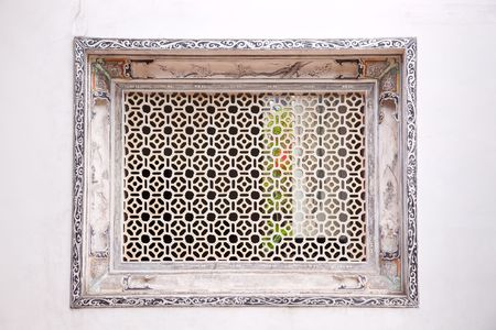 Chinese old style plaste window in an ancient Chinese house. photo