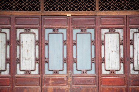 Chinese old wooden door in a ancient building,this style is used in several hundred years ago photo