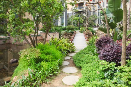 Footbridge and  stone walkway winding its way through a tranquil garden. photo