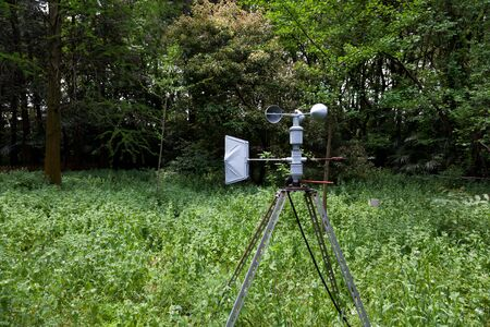 anemometer: Outdoor anemometer, a meteorological instrument used to measure the wind speed, in the forest