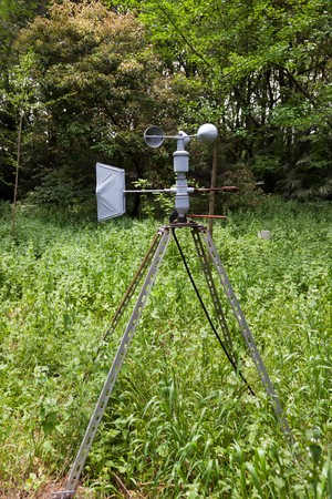 meteorological: Outdoor anemometer, a meteorological instrument used to measure the wind speed, in the forest