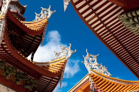 eaves: Chinese eaves under blue sky in the temple of Xichan,Fuzhou,China