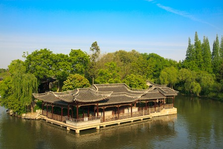 pavilion: Chinese old style pavilion and corridor by  lake in a park.