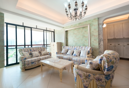 Modern interiors,living-room with the modern rattan furniture photo