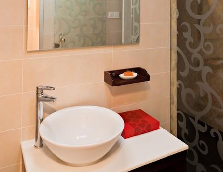 Modern style interior  of a bathroom. photo