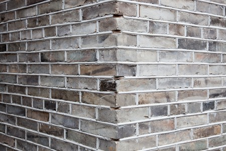 Close-up shot for the corner of gray brick wall.Gray brick ,also named blue brick,normally used in Chinese ancient architecture photo