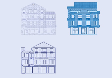 A front view of three houses in blueprint form. Vector