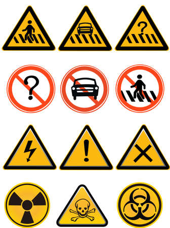 element - a group of warning sign,isolated on white background Stock Vector - 9130373