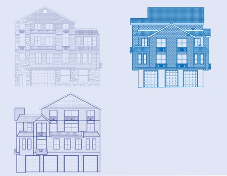 A front view of three houses in blueprint form.