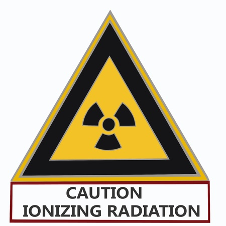 ionizing radiation risk: triangular nuclear warning sign with