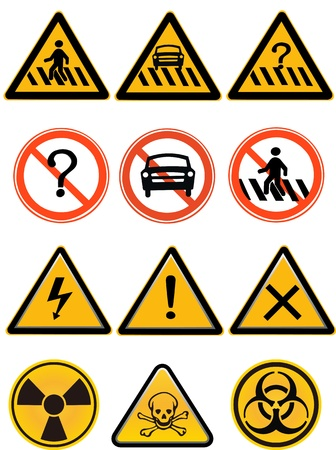 Vector element - a group of warning sign,isolated on white background  Vector