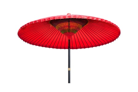 Big traditional Chinese red oiled-paper umbrella isolated on the white background.It Stock Photo