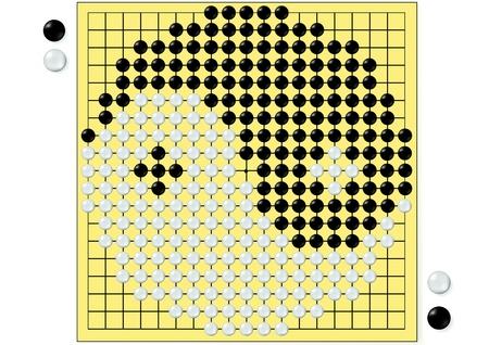 Zeichnung des Tai Chi in der chinesischen Brettspiel Go isoliert auf weißem Hintergrund Standard-Bild
