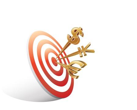 circulos concentricos: Ilustración digital de señales del dinero en el blanco sobre fondo blanco, Imágenes para el objetivo, dardos, marketing, economía, las finanzas, la competencia;