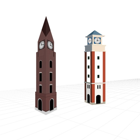 church 3d: two bell towers on blueprint