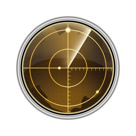 sonar: Illustrazione vettoriale dello schermo radar isolato su sfondo bianco. Vettoriali