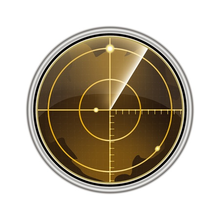 sonar: Vector illustration de l'�cran radar isol� sur fond blanc.