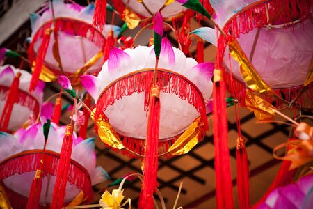 Chinese Paper Lanterns -Lotus flower lamp  in a street market during chinese new year in China. photo