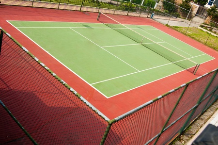 hard bound: tennis court - outdoor Hard court Stock Photo