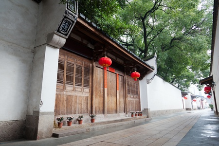 Tranquil Chinese traditional alley with building of the Ming and Qing Dynasty beside,located at Three lanes and seven alleys,most famous place for ancient architecture in the southeast of China,fuzhou,China.