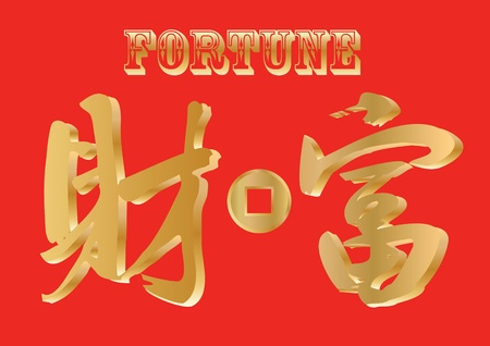 handwriting Chinese character - Fortune Vector