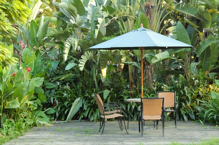 garden furniture: Garden furniture - rattan chairs and table under umbrella on a wooden floor by the banana trees background at garden
