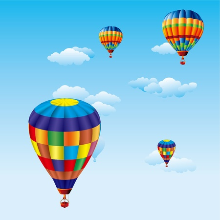 air sport: colorful balloons flying over clouds in sky