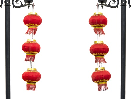 Two groups of Chinese red lantern hanging on lamppost on the white background  photo